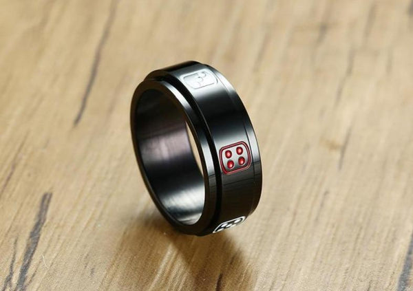 Spinner ring - game dice rotatable mens ring
