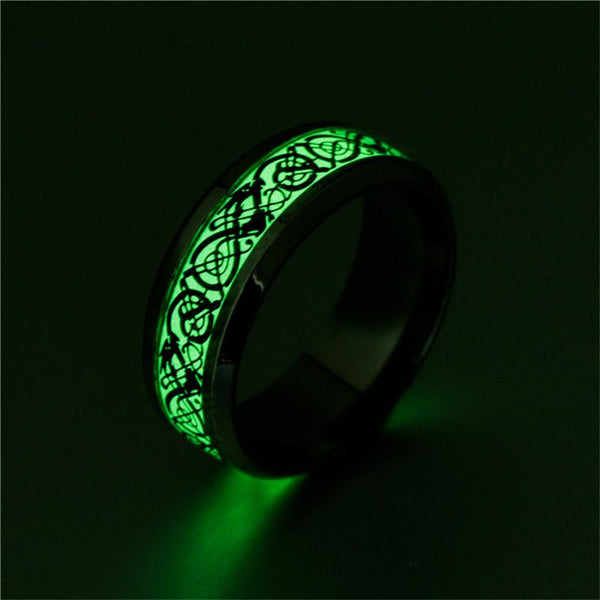 Glow in the dark mens ring with custom engraving