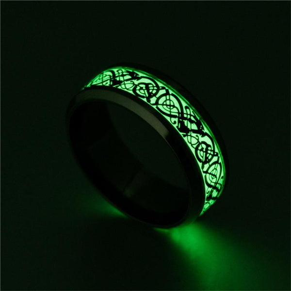 Luminous mens ring - celtic dragon black male ring