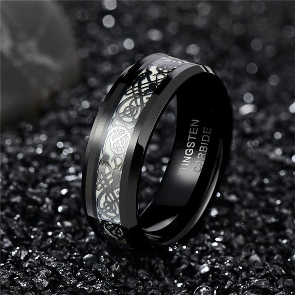 Celtic mens ring - glow in the dark black ring