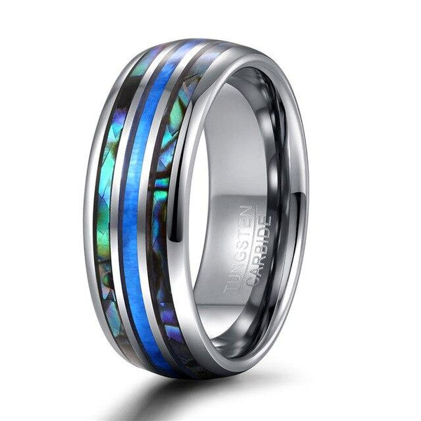 Opal and abalone shell silver Tungsten mens ring