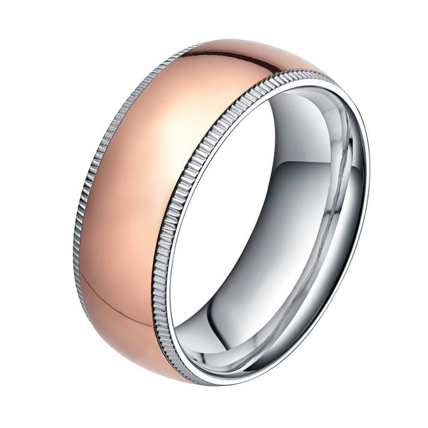 Rose gold and silver titanium mens ring