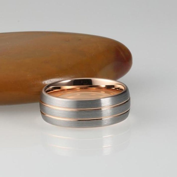 Rose Gold and Silver Tungsten Mens Ring