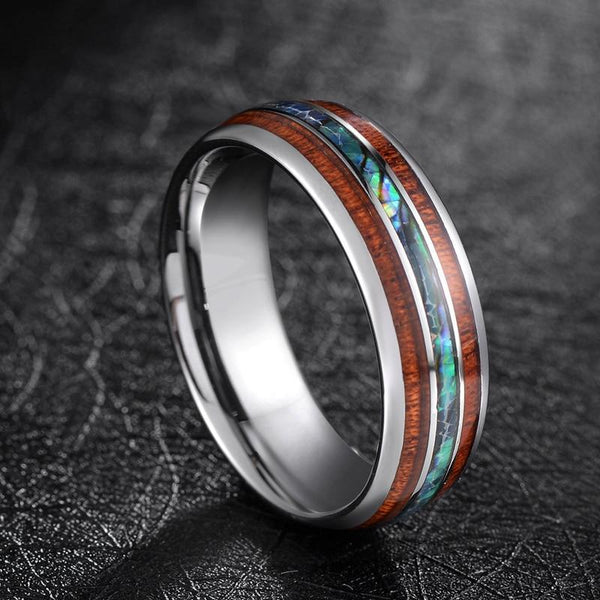 Wood silver tungsten mens ring