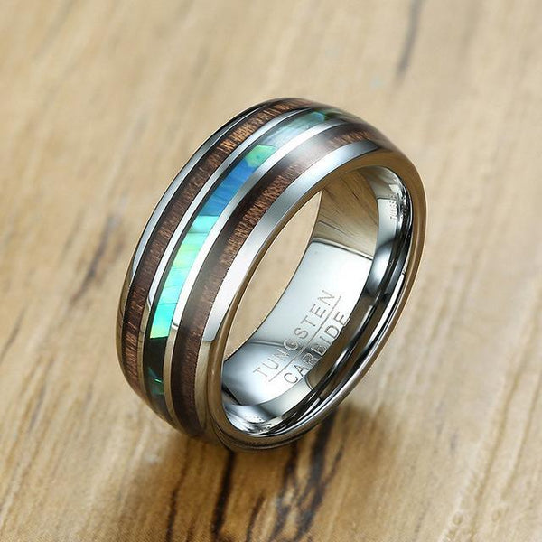 Wood and abalone shell silver tungsten mens ring