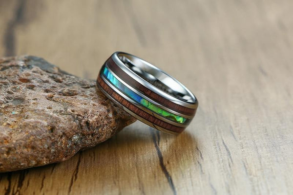 abalone shell silver tungsten mens ring