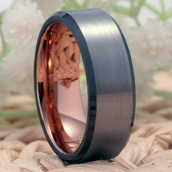 Silver, Black & Rose Gold Tungsten Mens Ring