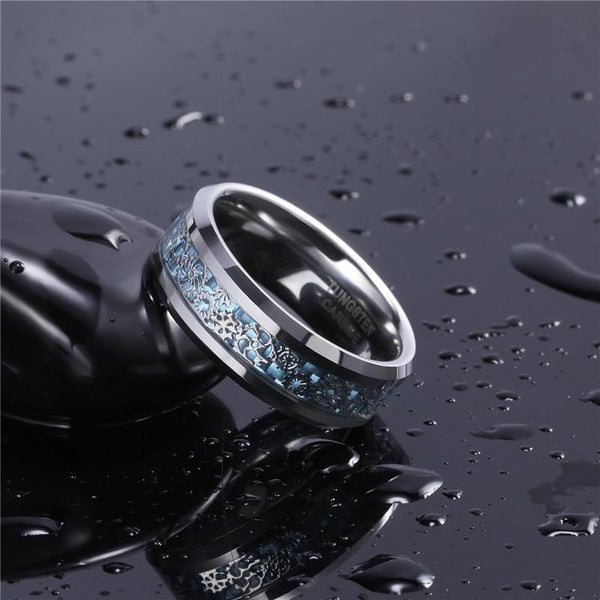 Mechanical gears silver and blue tungsten mens ring
