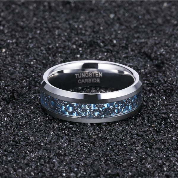 Silver and blue tungsten gears mens ring
