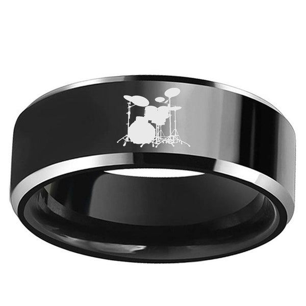 Music Drums Band Black Tungsten Mens Ring