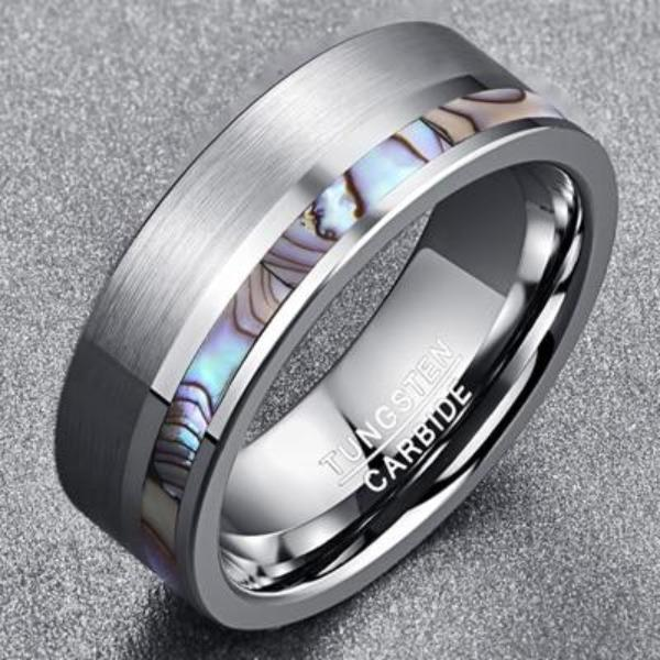 Abalone Shell Tungsten and Silver Mens Ring