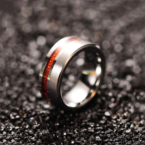 wood silver Tungsten personalized mens ring