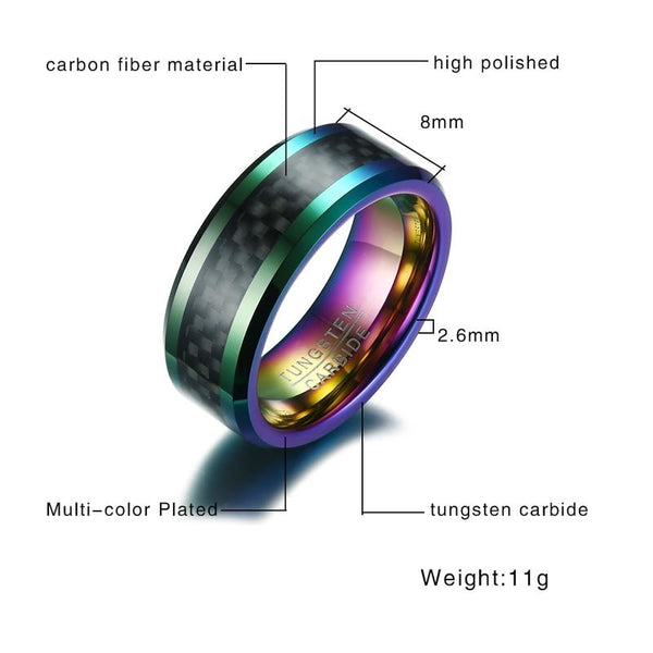Rainbow and black tungsten mens ring - gifts for men