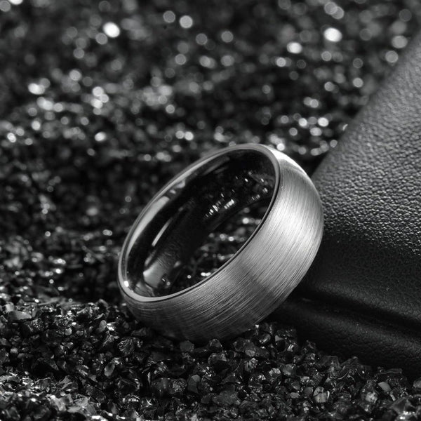 Personalized silver and black Tungsten mens ring