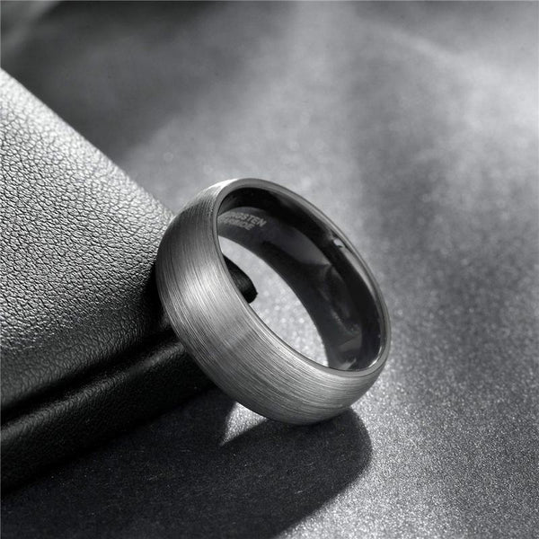 Wedding rings for men - Personalized silver and black Tungsten mens ring