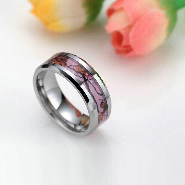 Pink camo silver Tungsten womens ring