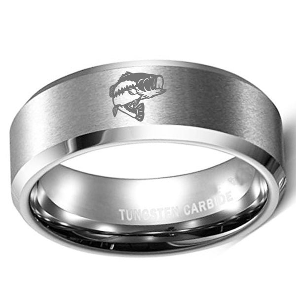 Pipe Bass Fish Silver Tungsten Mens Ring