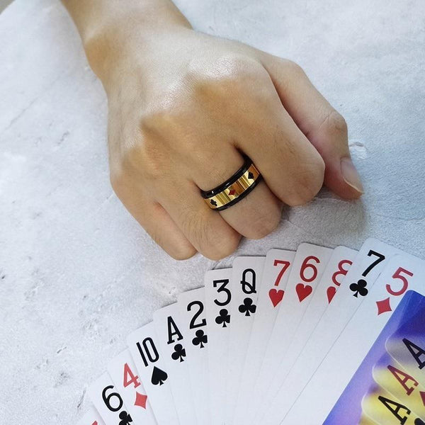 Poker game playing cards gold spinner ring