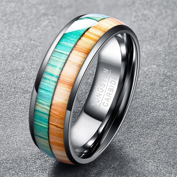 Wood and Silver Tungsten Men's Ring
