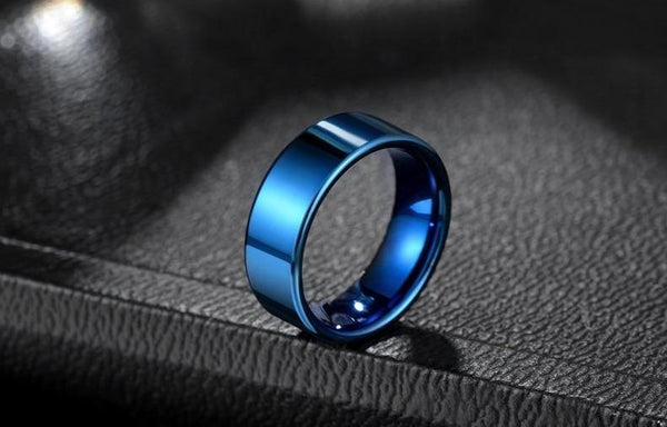 Luxury blue polished tungsten mens ring