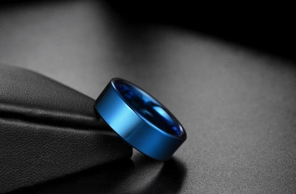 Blue polished tungsten mens ring