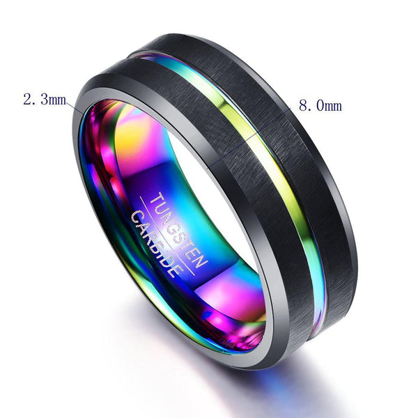 Colorful Rainbow and Black Tungsten Mens Ring