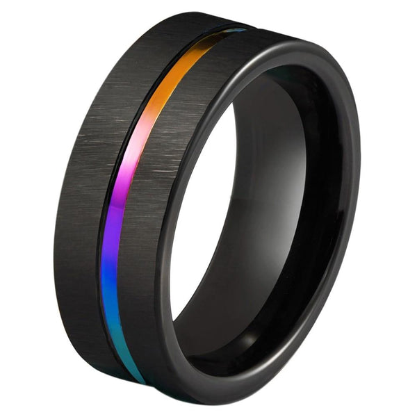 Black and rainbow Tungsten mens rings