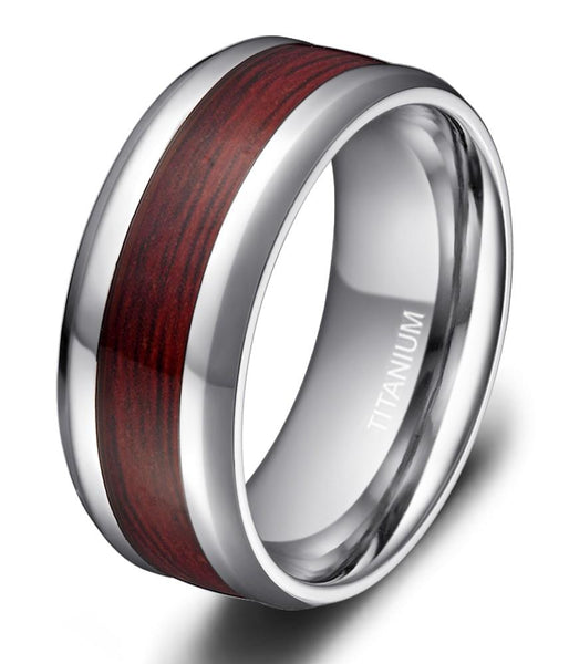 Wood rings - Silver Titanium mens ring gift for him