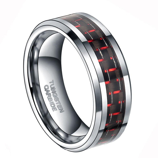 Mens custom rings - Red and black silver Tungsten male ring band