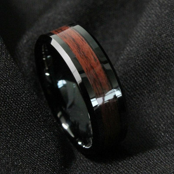 Custom wood rings - red wood and Tungsten mens ring