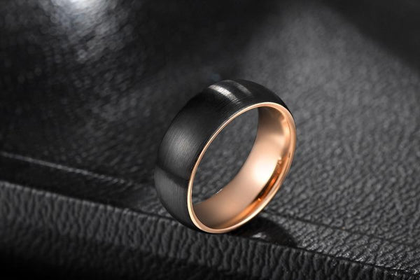 personalized black and rose gold tungsten rings for him