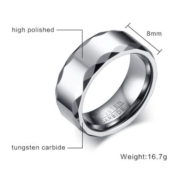 unique mens ring - cool silver tungsten mens ring