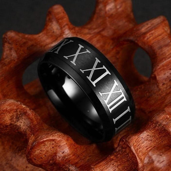 Roman numerals black mens ring gifts for him