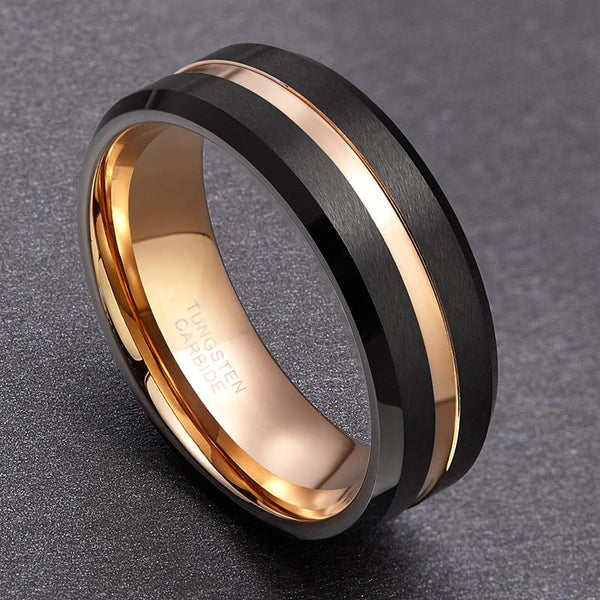 Personalized black and rose gold Tungsten mens ring
