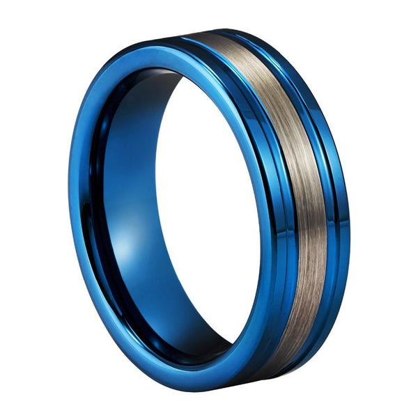 Unique silver and blue Tungsten mens ring