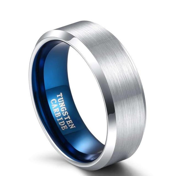 Silver and blue Tungsten mens ring - gift for him