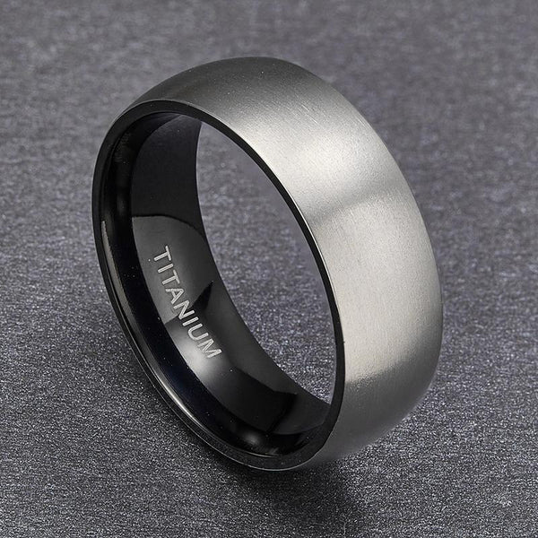 Personalized silver and black titanium mens ring