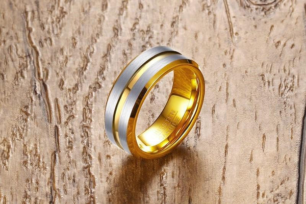 Gold and silver tungsten mens ring - gift for him