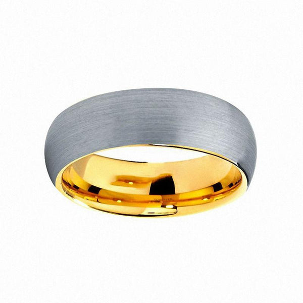 Gold plated and silver tungsten mens ring gift for him