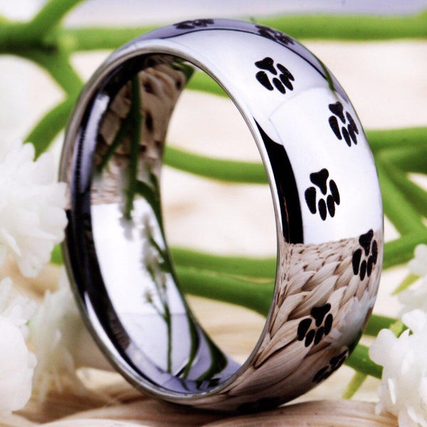 Cat Dog Paw Prints Silver Tungsten Rings