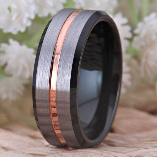 Silver, Rose Gold & Black Tungsten Mens Rings