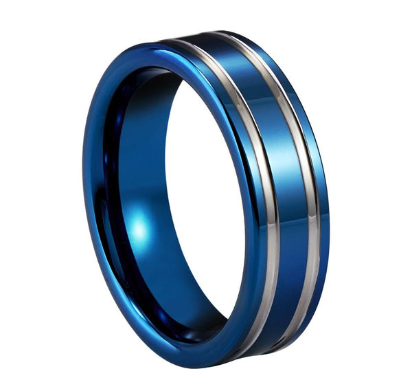 silver and blue Tungsten mens ring - gifts for him