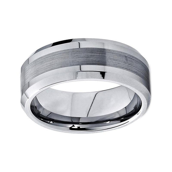 Silver Brushed Center Polished Edges Tungsten Mens Ring