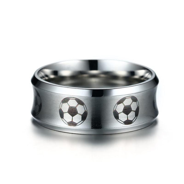 Soccer football sport stainless steel mens ring