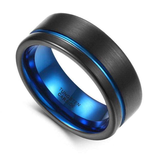 Custom black and blue Tungsten mens ring