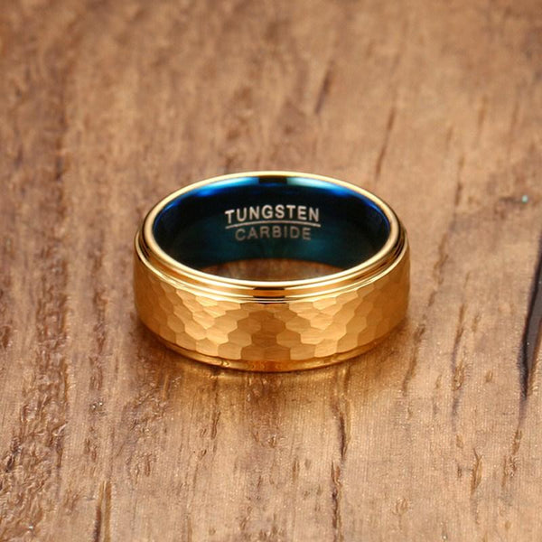 Unique cool gold and blue tungsten mens ring