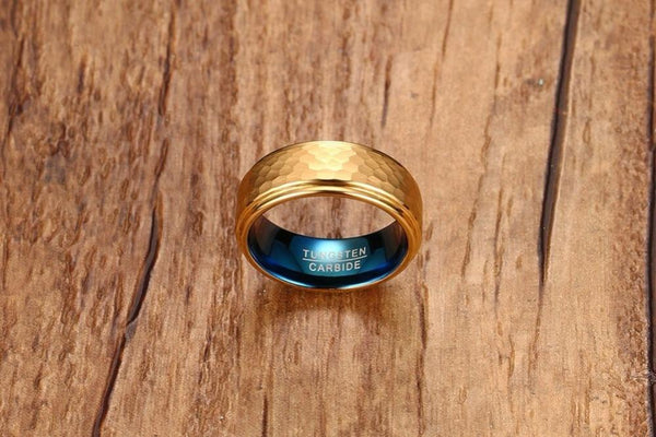 Personalized gold and blue tungsten mens ring