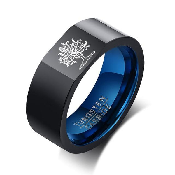 Tree of life black and blue Tungsten mens ring