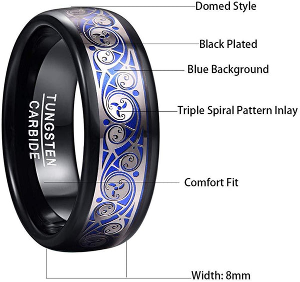 Unique Cool Blue and Black Tungsten Men's Ring