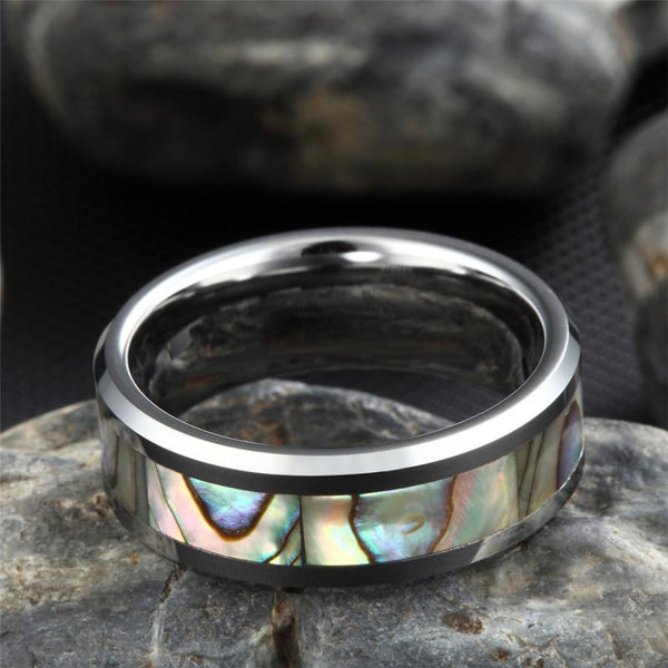 Personalized abalone shell Tungsten mens ring